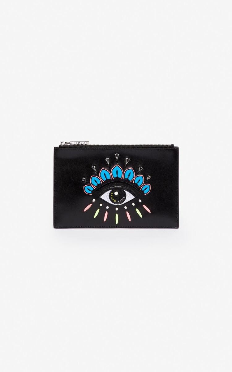 BLACK A5 Eye leather clutch for global.none KENZO