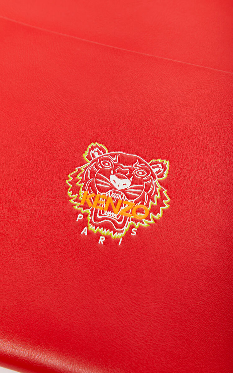 MEDIUM RED 'Tiny Tiger' A4 leather clutch for unisex KENZO