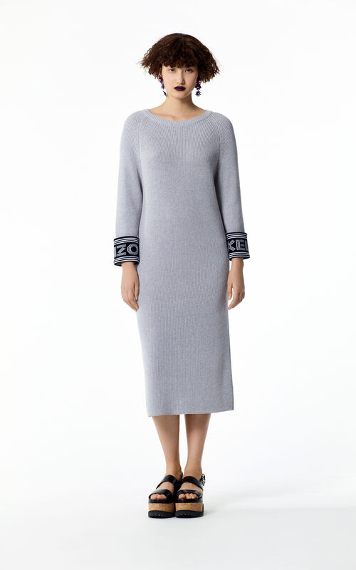 PALE GREY Knit straight dress for women KENZO