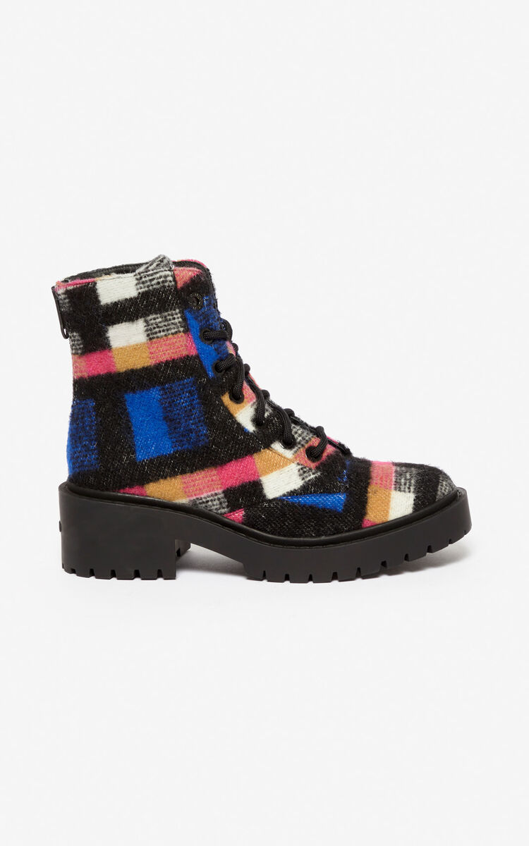 FRENCH BLUE Checked Pike Boots for women KENZO