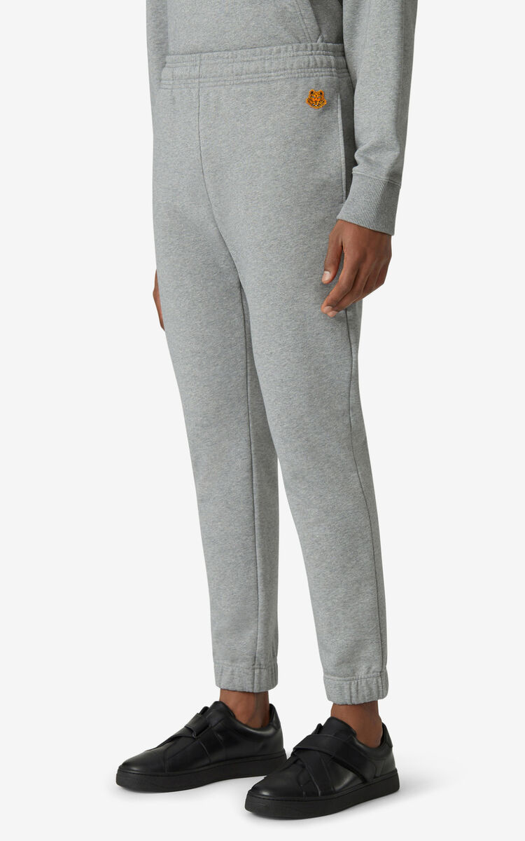 DOVE GREY Tiger Crest jogging trousers for men KENZO