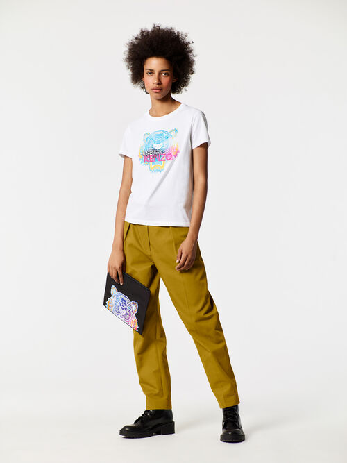 WHITE Rainbow' Tiger T-shirt for women KENZO