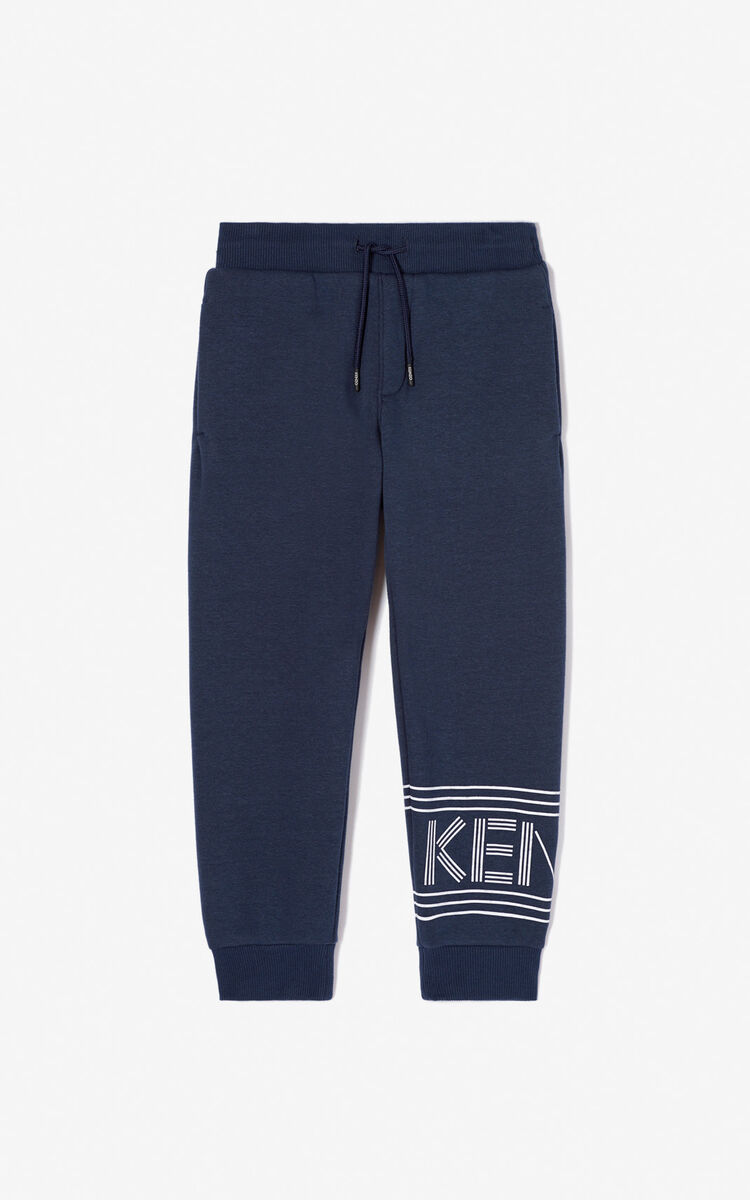 NAVY BLUE KENZO logo jogging trousers for men