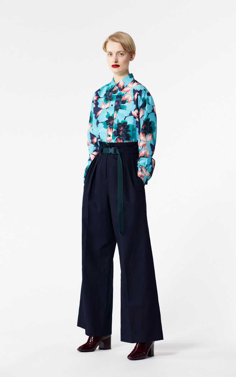 NAVY BLUE 'Indonesian Flower' silk shirt for women KENZO