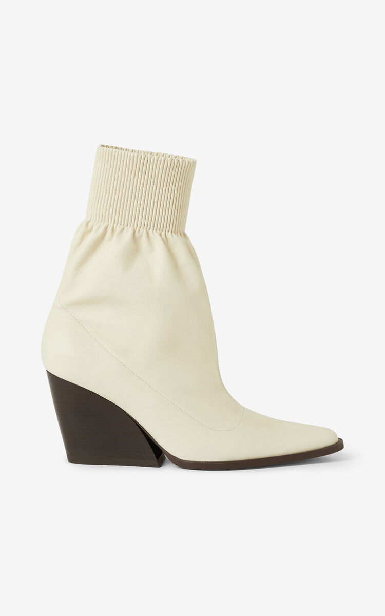 ECRU Billow leather ankle boots for women KENZO