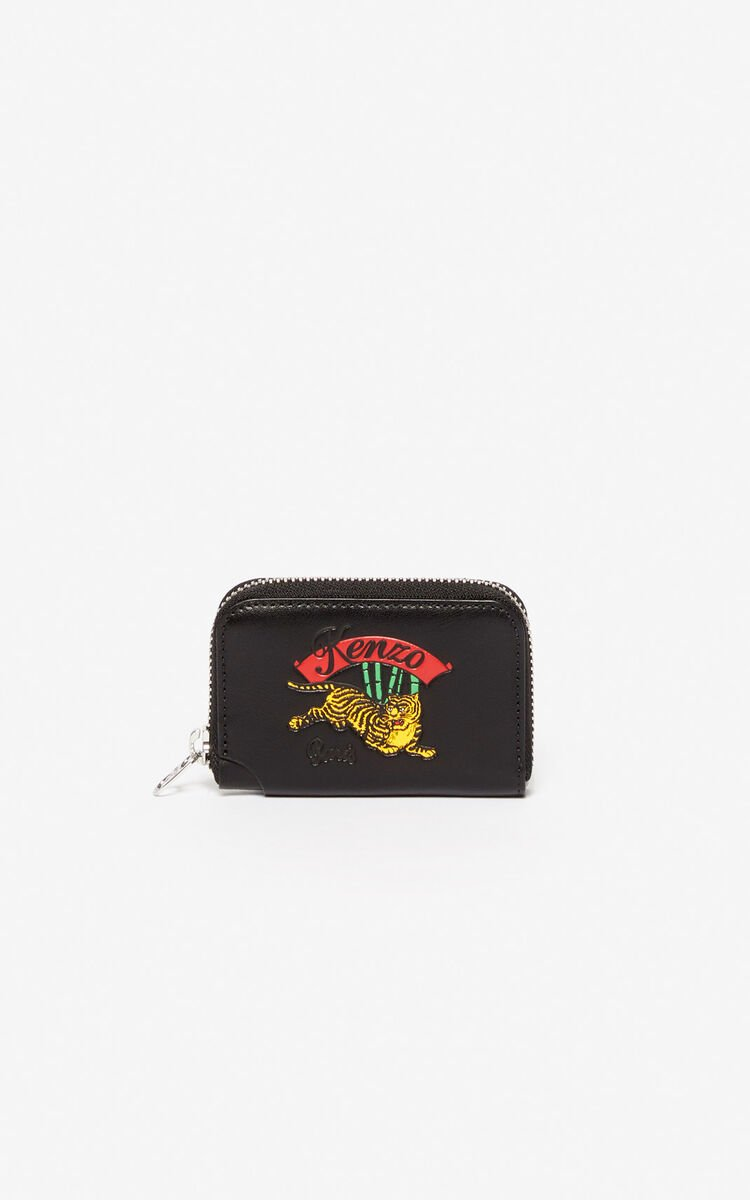 BLACK 'Jumping Tiger' zipped wallet for unisex KENZO