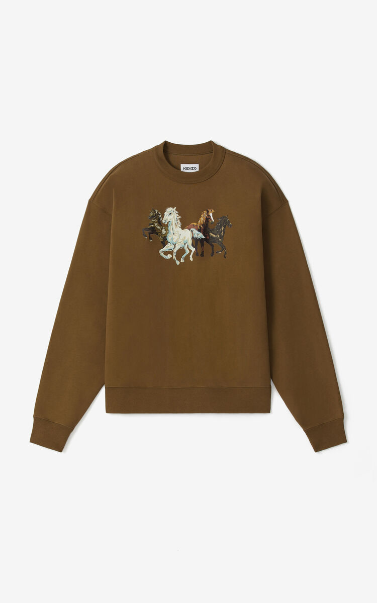 KHAKI 'Chevaux KENZO' sweatshirt for women
