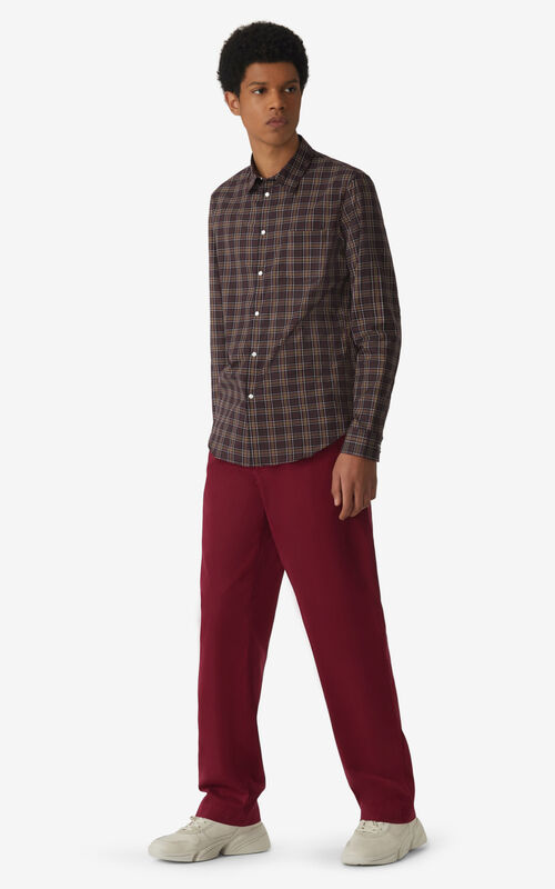 MAGENTA Checked slim-fit shirt for men KENZO