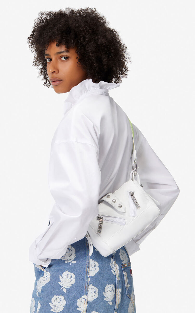 WHITE Mini Kalifornia Sport leather bag for unisex KENZO