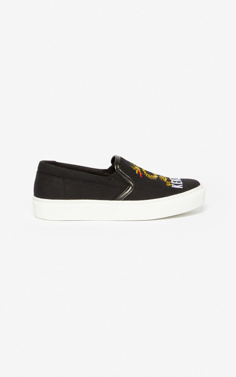 BLACK 'Dragon' slips-on for women KENZO