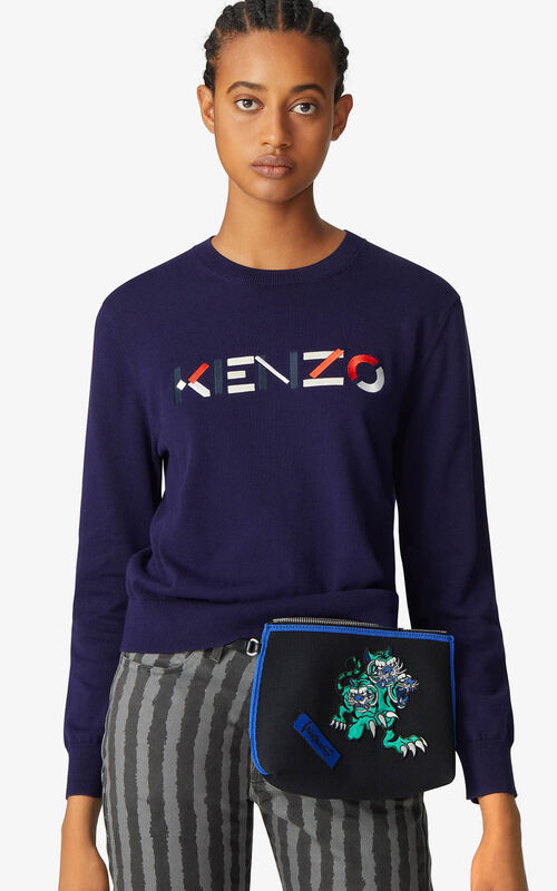 NAVY BLUE Multicoloured KENZO Logo jumper for women