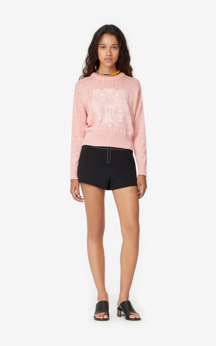 FLAMINGO PINK Openwork Tiger jumper for women KENZO
