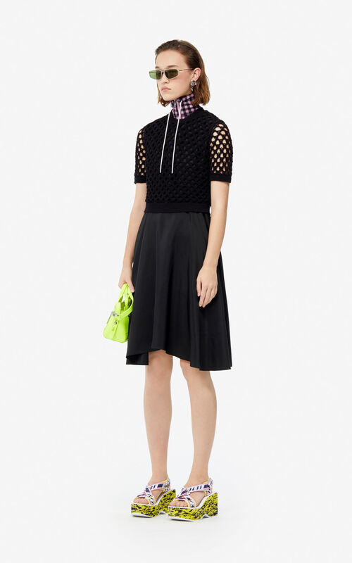 BLACK Dual-fabric dress for women KENZO