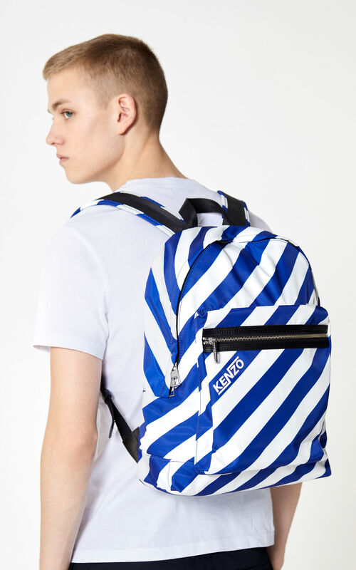 DEEP SEA BLUE Striped 'Hyper KENZO' backpack for men