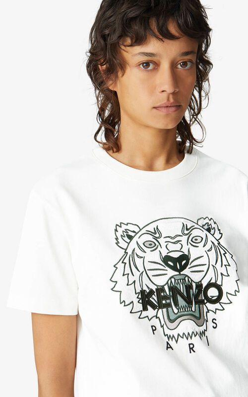 WHITE Loose Tiger t-shirt for women KENZO