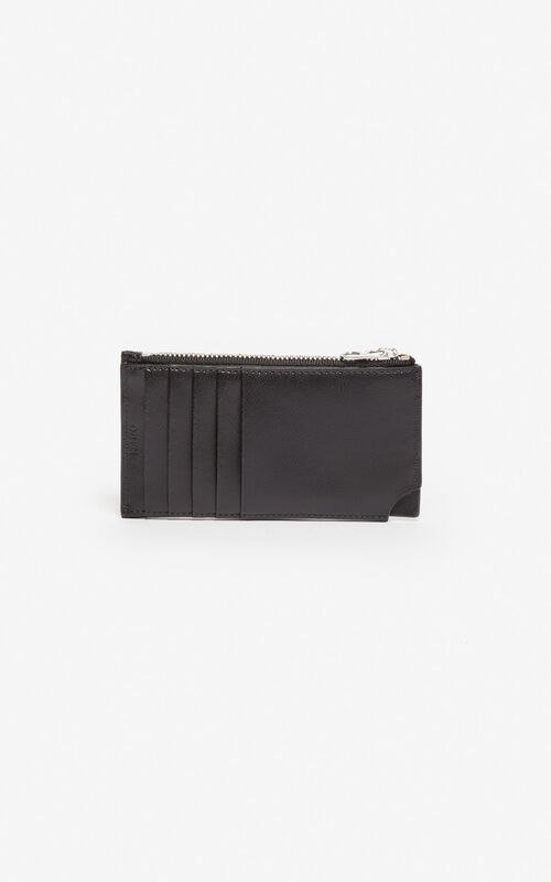 2ded55211 ... BLACK 'Jumping Tiger' Zipped leather card holder for men KENZO. '