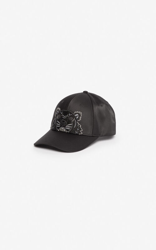 BLACK Satin Tiger cap 'Holiday Capsule' for unisex KENZO