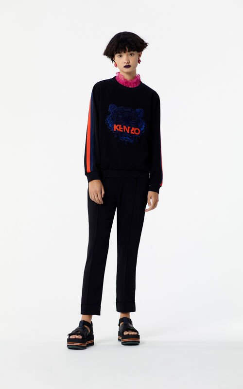 BLACK Crepe Colour Block Tiger Top for women KENZO