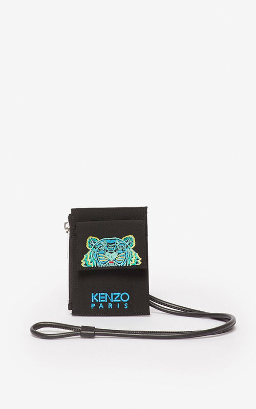 BLACK Tiger cardholder with strap  for unisex KENZO