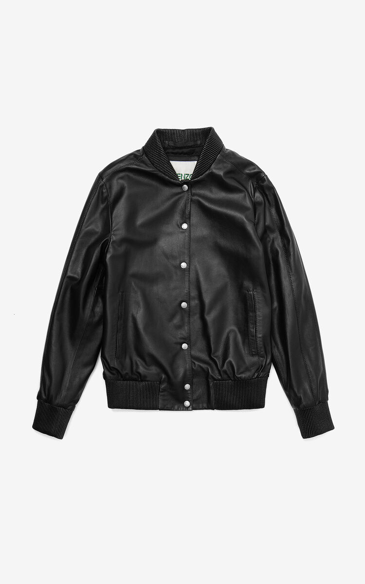 BLACK Tiger leather varsity jacket for women KENZO