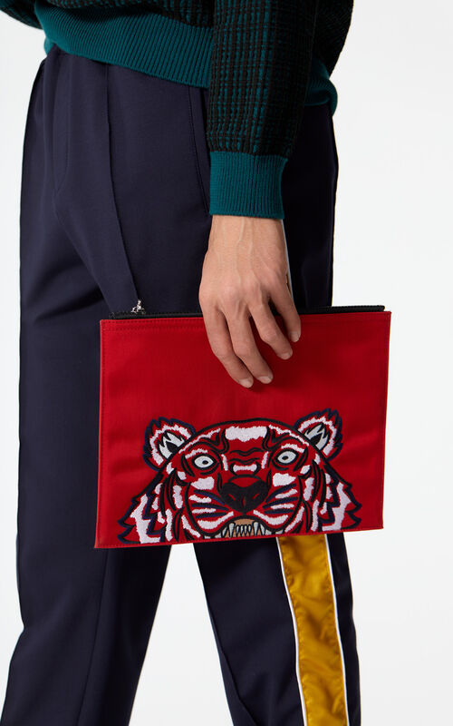 MEDIUM RED A4 Tiger Canvas clutch for men KENZO