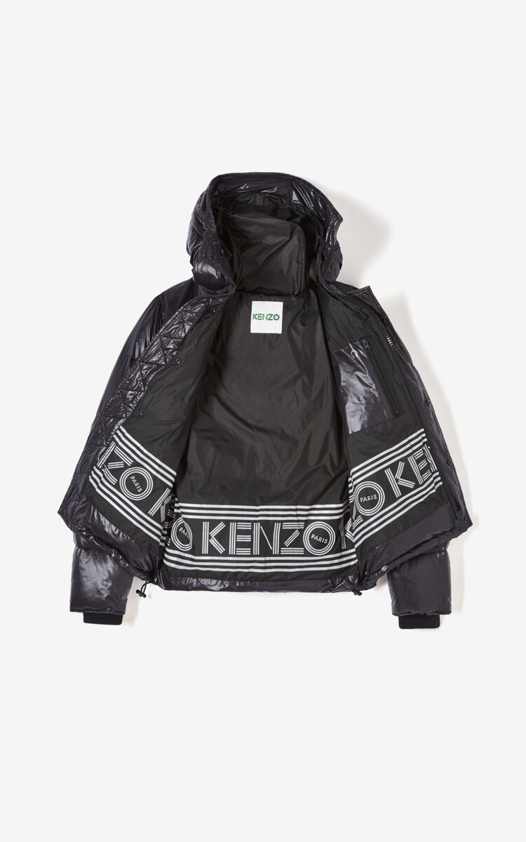 BLACK Hooded padded puffer jacket for global.none KENZO