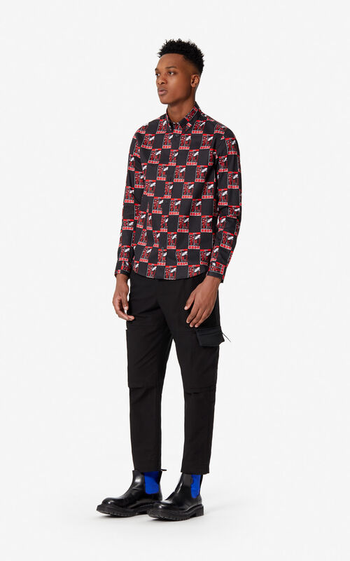 BLACK 'Rice Bags' casual shirt for men KENZO