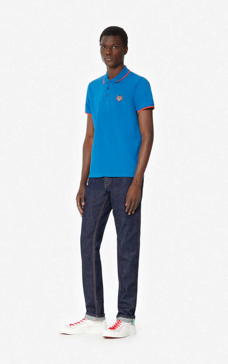 TURQUOISE Fitted Tiger polo shirt  for men KENZO