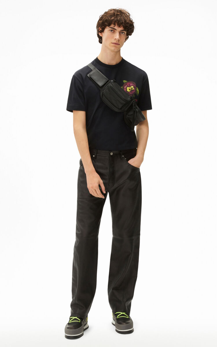 BLACK Flared leather trousers for women KENZO