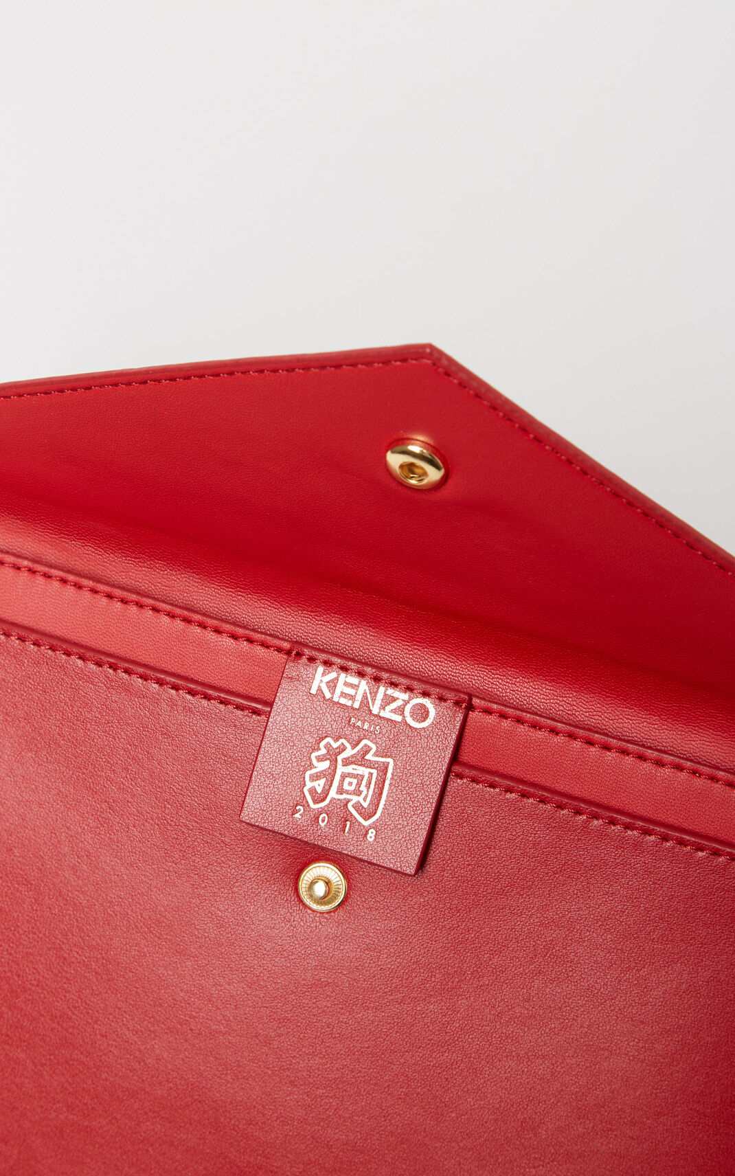 MEDIUM RED Leather A5 Clutch Bag for men KENZO