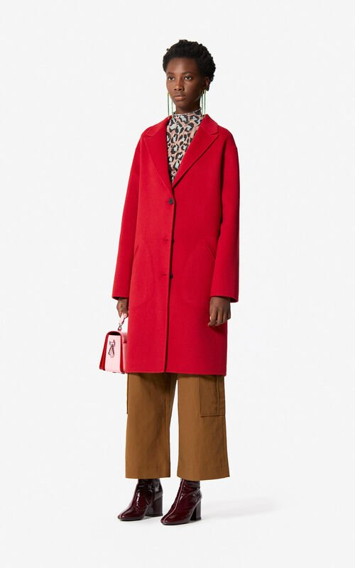 MEDIUM RED Wool and cashmere coat for women KENZO