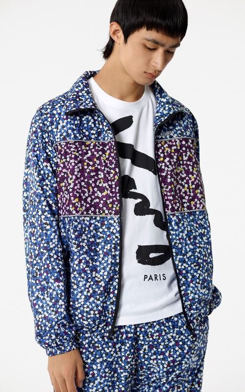 DEEP SEA BLUE Floral Jacket for men KENZO