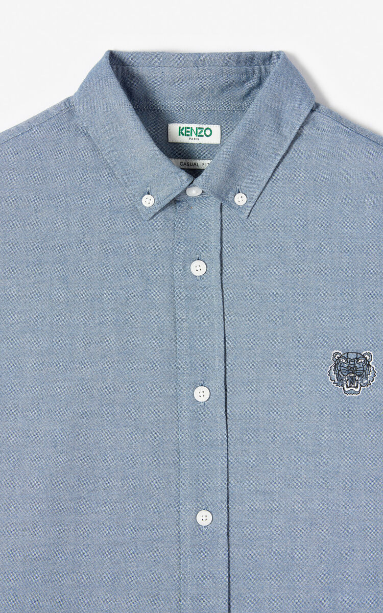 NAVY BLUE Tiger Oxford shirt for men KENZO