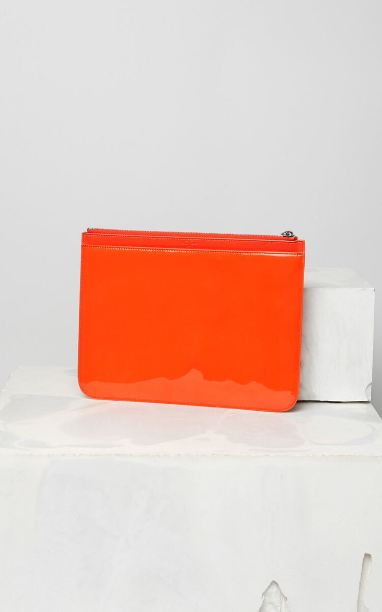 MEDIUM RED A4 Tiger patent clutch bag for unisex KENZO
