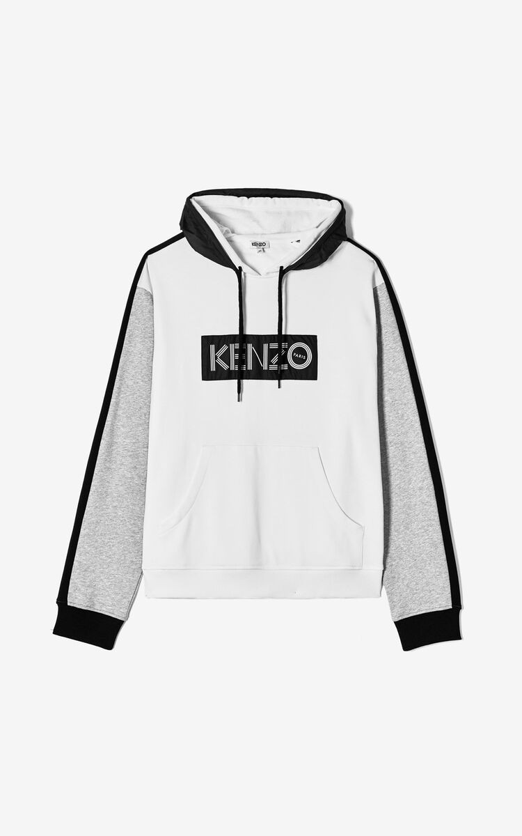 WHITE KENZO logo colorblock sweatshirt for men