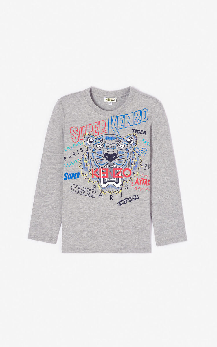 MIDDLE GREY 'Super KENZO' Tiger T-shirt for men