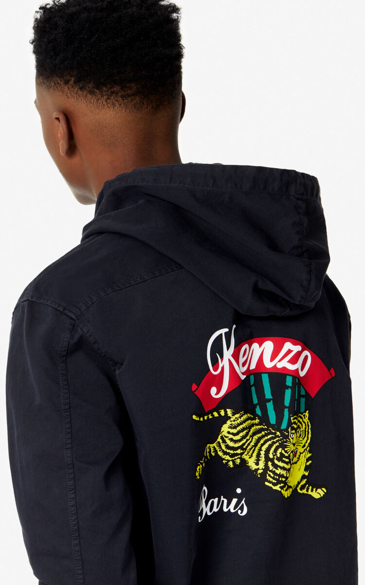 BLACK 'Bamboo Tiger' denim shirt for men KENZO