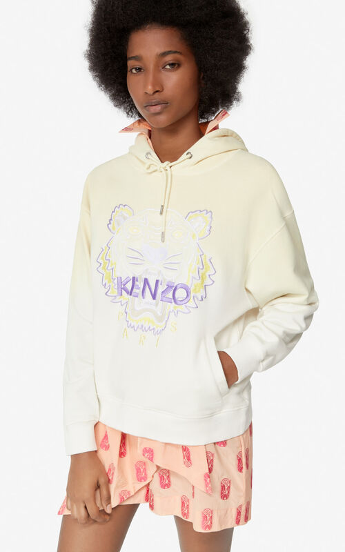 IVORY Gradient hooded Tiger sweatshirt for women KENZO