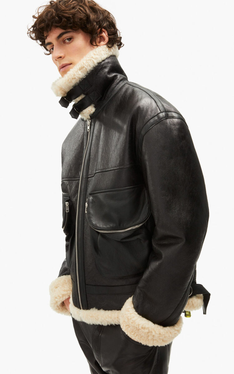 BLACK Shearling and leather jacket for women KENZO