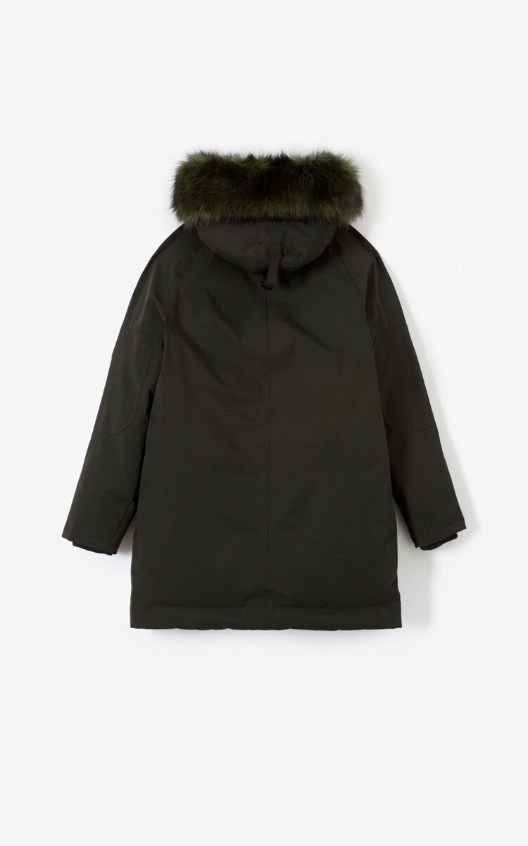 BLACK Long parka jacket with hood for women KENZO