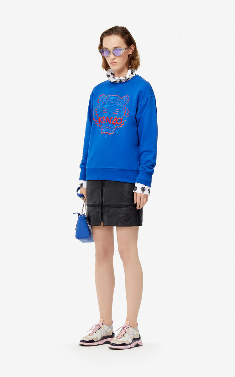 FRENCH BLUE Two-tone Tiger sweatshirt for women KENZO