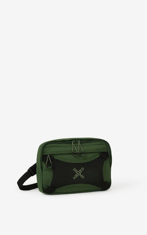 DARK KHAKI KENZO Sport 'Little X' harness bag for unisex