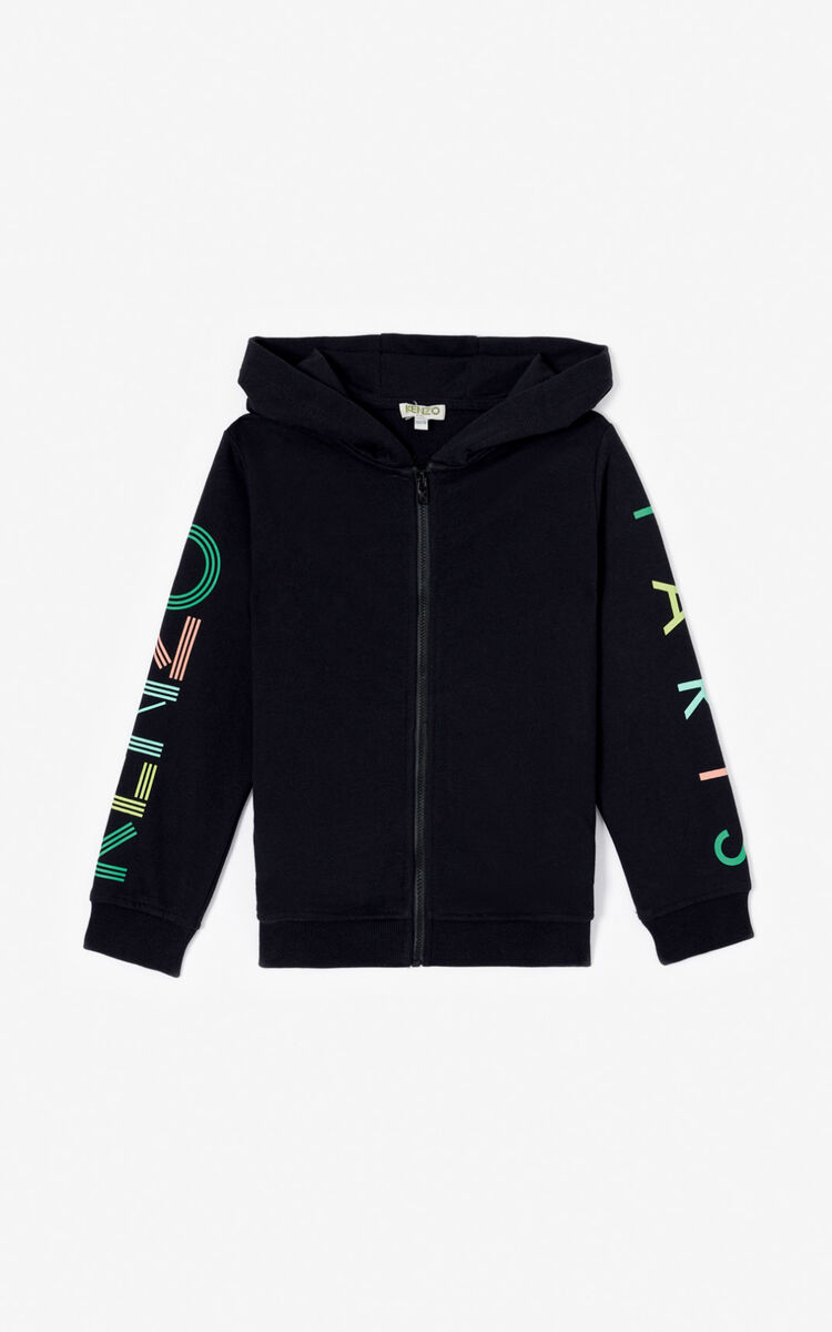BLACK KENZO Logo zipped hoodie  for men