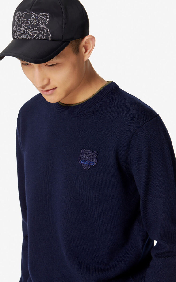 NAVY BLUE Woollen Tiger jumper for men KENZO