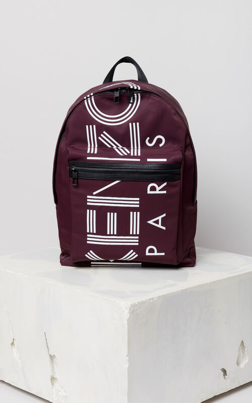 BORDEAUX Large KENZO Logo backpack for men