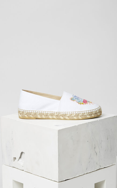 WHITE 'Rainbow' Tiger Espadrilles for unisex KENZO