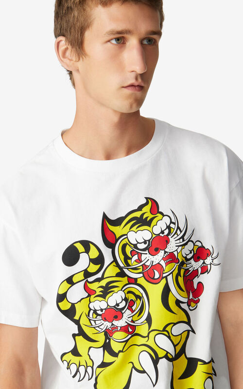WHITE KENZO x KANSAIYAMAMOTO 'Three Tigers' T-shirt for men