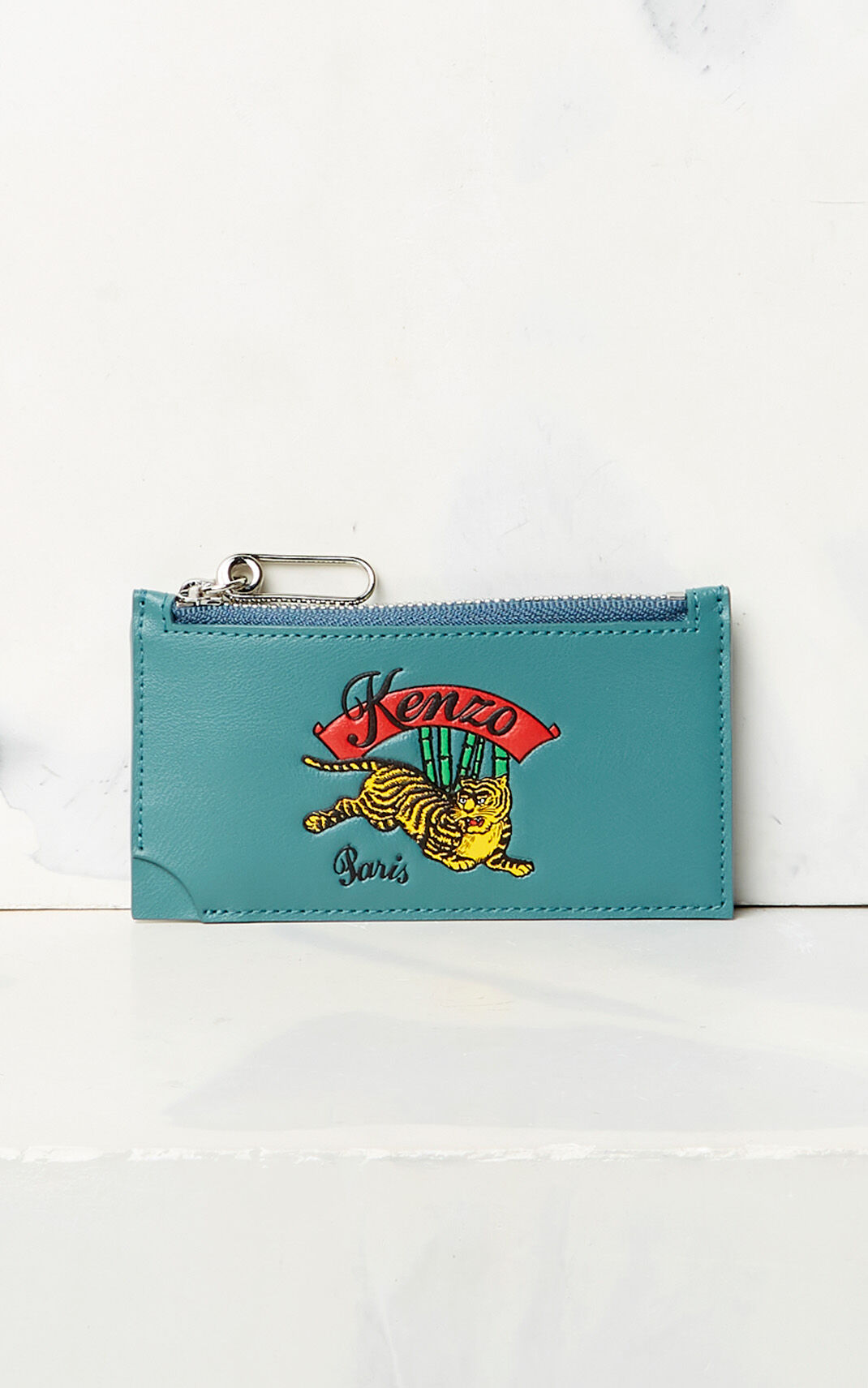 DUCK BLUE 'Jumping Tiger' Zipped Card Holder for men KENZO