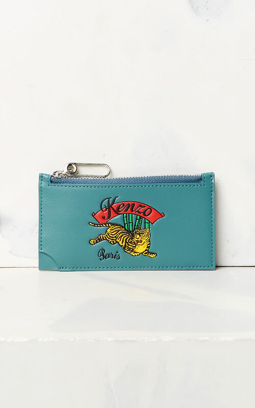 DUCK BLUE 'Jumping Tiger' Zipped Card Holder for women KENZO