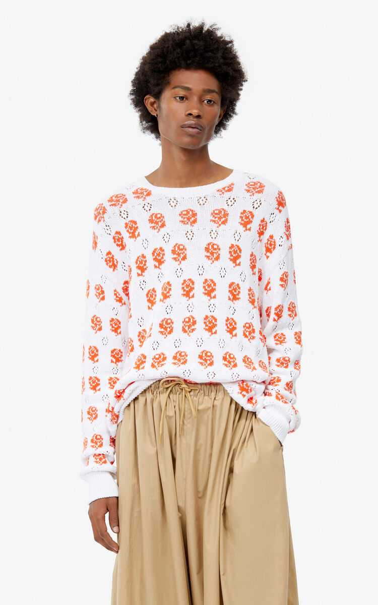 WHITE Openwork 'Roses' jumper for men KENZO